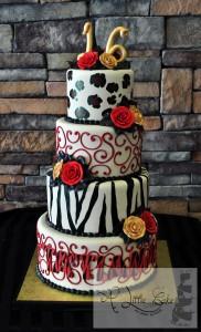 Animal Print Sweet 16 Cake